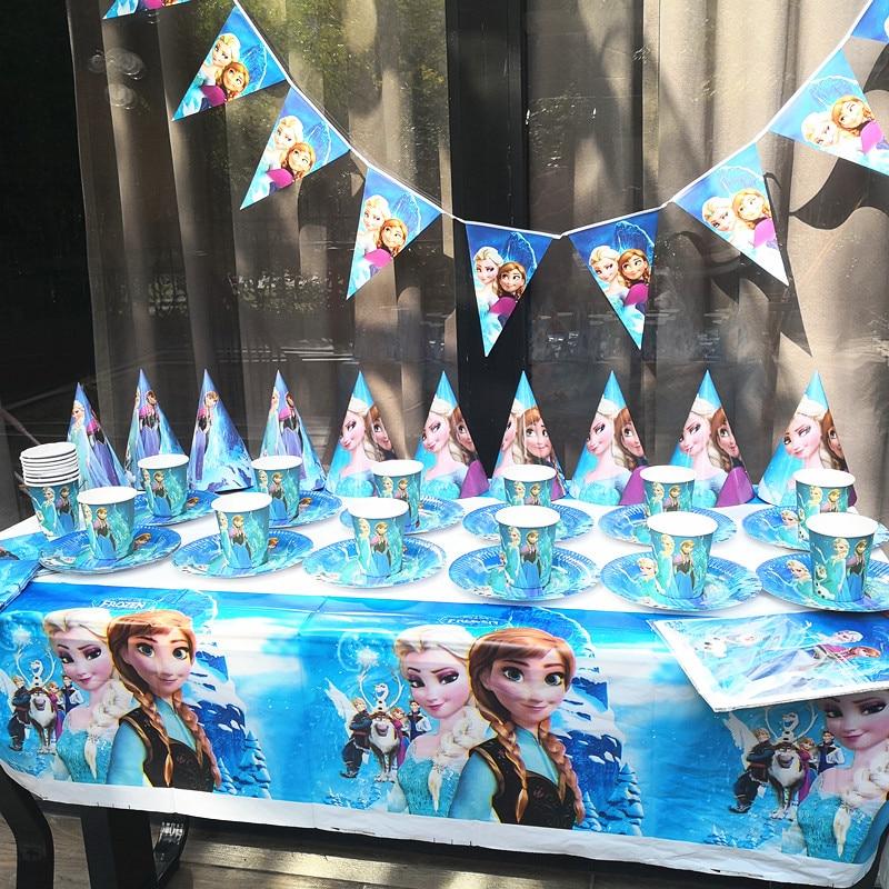 91pcs Disposable Tableware sets Elsa Anna Princess TableCloth cups Paper plate Napkin Flag Kids Birthday Party Decoration