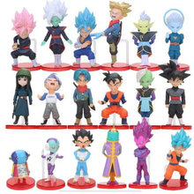18pcs/set Anime Dragon Ball Z Super Saiyan Trunks Vegeta Son Goku Grand Priest PVC Decoration Toy Model For Children Gift(China)