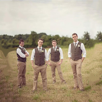 8b5bcd6736acf 2019 Vintage Farm Wedding Brown Tweed Vest Classic Formal Groom S Suit Vest  Slim Fit Men