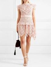 2019 new arrive pink lace flower dress