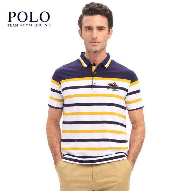 Royal Queen's Polo Команда 2017 Летний Новый мужская С Коротким Рукавом polo Рубашка мужская Полосатый Нагрудные V-образным Вырезом Рубашки тонкий ти