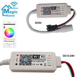 Адресуемые Magic Home светодиодный контроллер SPI DC5V DC12 24 V 2048 пикселей Миниатюрный Wi-Fi контроллер для WS2811 SK6812 WS2812B Светодиодные ленты