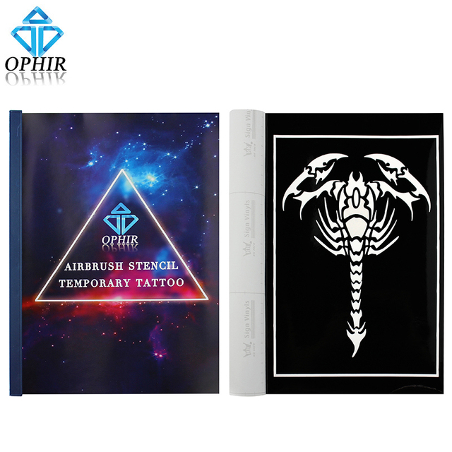 OPHIR 15 Big Size Airbrush Stencils for Body Painting Henna Temporary Tattoo Stencils Set Airbrushing Art Pattern Booklet _TA096