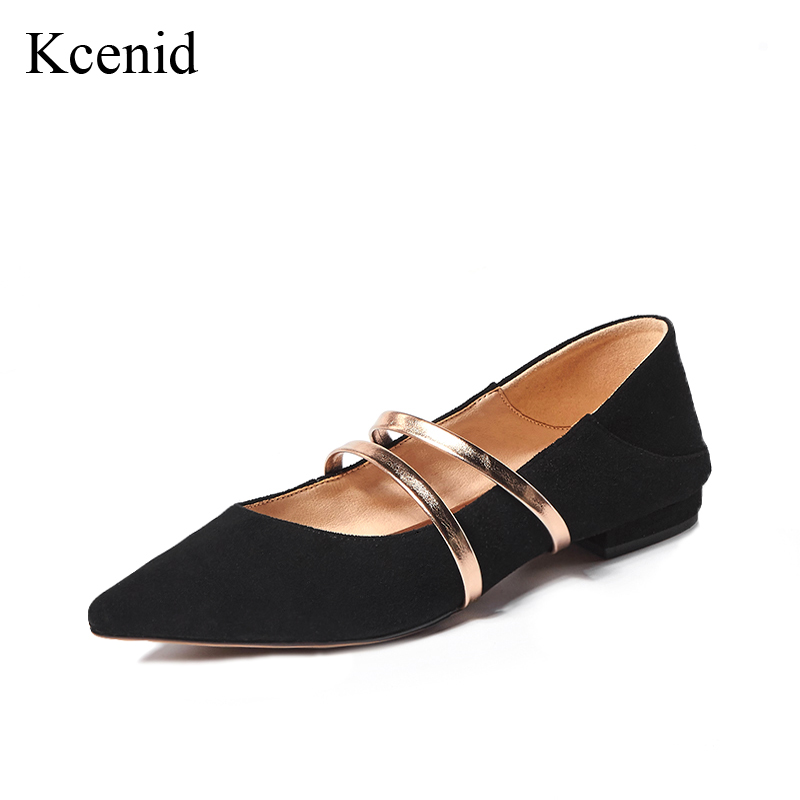 2018 Véritable Kcenid Kid Cuir Noir Noir Janes Or Femme Photo Plates En Chaussures Suede Bout Pointu Style De as Main Sangles gris Nouveau Mode Mary dqqU1C