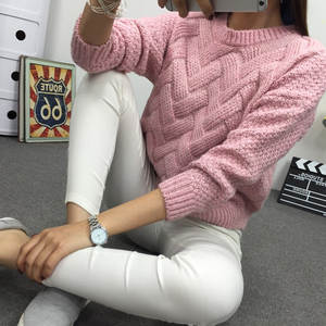 Pullover Jersey College Jumper Women's Sweater O-Neck Knitted Twisted Mohair Warm Pink