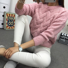Winter O-neck Women's Sweater Jersey Woman Mohair Knitted Twisted Thick Warm Lady's Pullover 2018 College Jumper Women Pink Gray