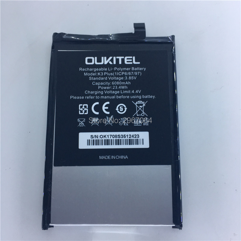 Mobile phone battery OUKITEL K3 battery 6080mAh 5.5inch MTK6750T 4+64G Long standby time OUKITEL Mobile Accessories