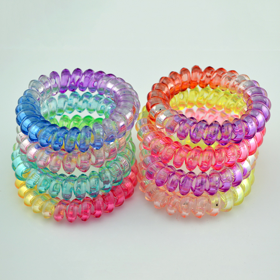 5Pcs/lot Telephone Line Wire Hair Holders Rubber Bands Clear Candy Color Tie Gum Women Girl's Hair Scrunchy Accessories 10pcs lot high quality telephone line headband gum elastic hair bands candy color rubber band for women girls hair accessories