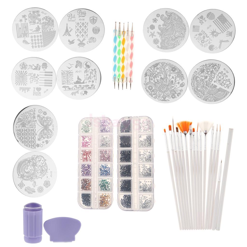 Nail Art 5PCSDotting Pen, 15x Painting Brush, Stamper, Image Plate, Rhinestone Decoration Manicure Kit Set image art