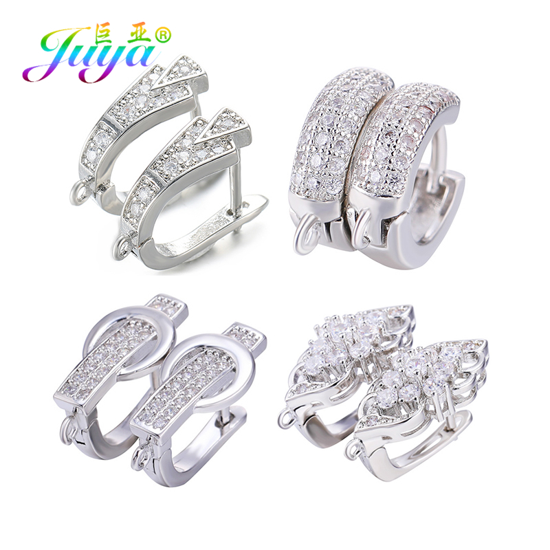 Juya DIY Fine Jewelry Making Material Handmade Creative Gold Silver Earring Hooks Accessories For Women Luxury Earrings Making in Jewelry Findings Components from Jewelry Accessories