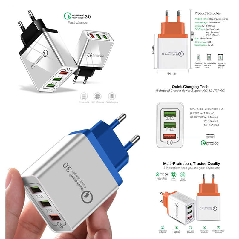 3 Port Charger Cepat 3.0 Perjalanan Dinding Charger Ponsel Usb Charger untuk iPhone 7 8 6 6 S iPad samsung S8 Huawei Xiaomi Uni Eropa Plug