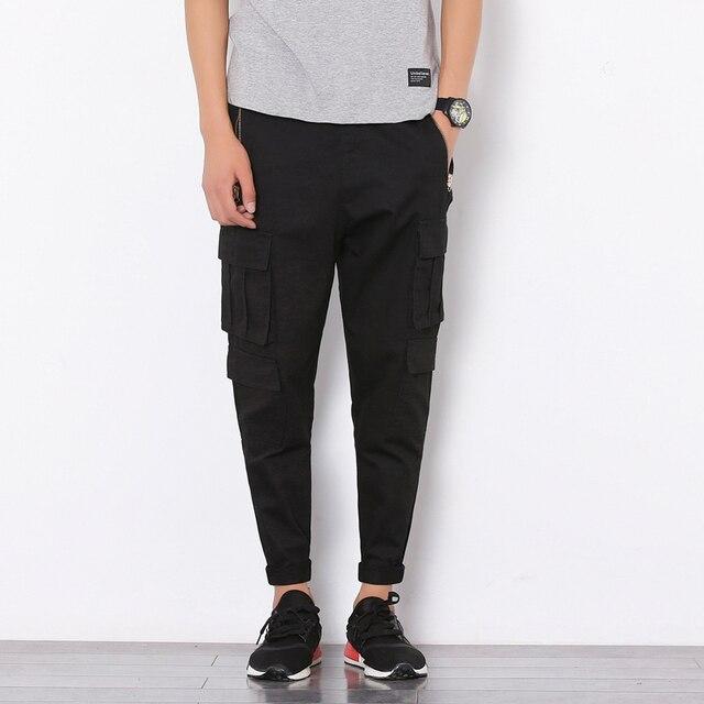 2017 Nueva Primavera Verano de Los Hombres de Carga Pantalones Multi del Bolsillo de La Manera Los Hombres de Hip Hop Harem Pantalones Casual Pantalón Para Hombre Joggers Pantalones Q259