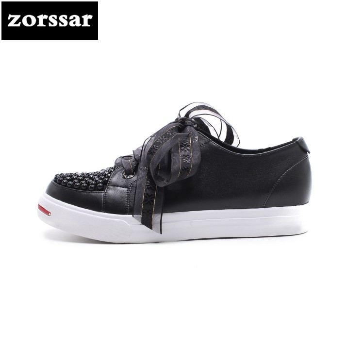 {Zorssar} 2018 Fashion pearl Genuine Leather flats Women Sneakers Breathable summer Casual Flat loafers women platform shoes women s shoes 2017 summer new fashion footwear women s air network flat shoes breathable comfortable casual shoes jdt103