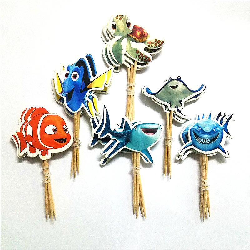 24pcs Cartoon Finding Nemo series cupcake topper pick baby shower kids birthday party cake decoration topper party supplies