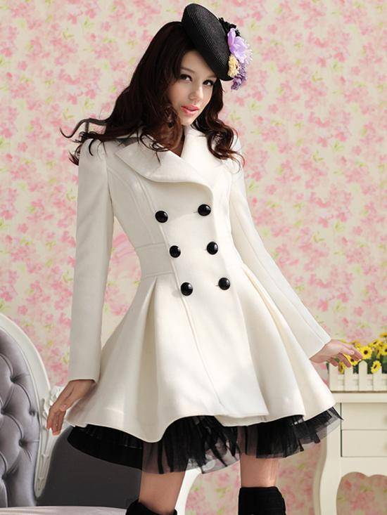 Autumn and winter white twill Shaqun of pendulum , double-breasted coat , women 671