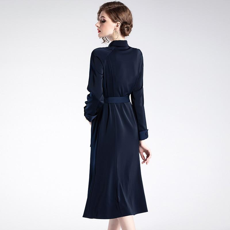 Dark Du Début 2019 D906002 Longueur Nouveau breasted Printemps Au Single 2018 Ouvrir Longues Blue Revers Pour Moyen Robe Solide Un Couleur Manches Femmes fAwXqxg1Y