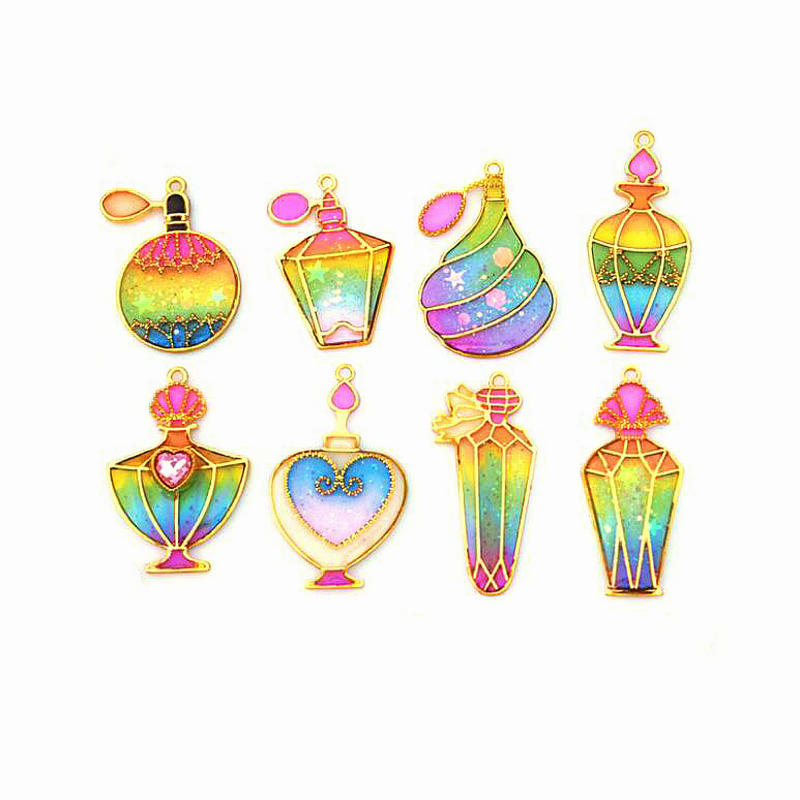 5pcs UV Resin Perfume Bottle Shapes Open Bezels Charms DIY Craft Fashion Women Jewelry Accessories Metal Frame Pendant Tools