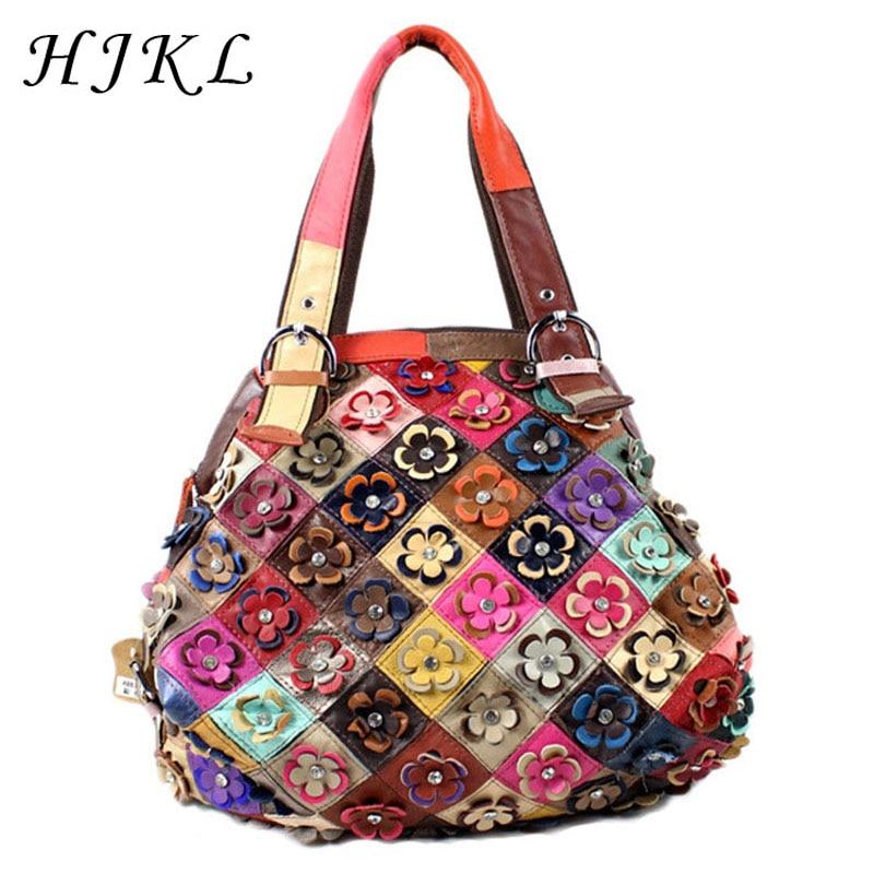 HJKL Vintage Genuine Sheepskin Leather Casual Totes Three-dimensional Appliques Large Handbags Floral Hobos Shoulder Bags