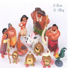 12 Pcs/Set Moana Waialiki Maui Heihei Adventure Action Figures  PVC Princess Toy Collection Dolls Children Gift