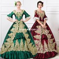 Alta qualidade verde vinho tinto emboidery casamento prom party dress marie antoinette southern belle halloween costume