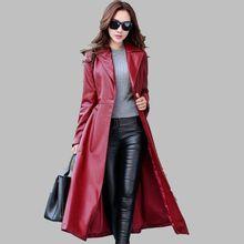 2017 Autumn Winter Fashion Big yards Women Leather Coat Women Slim Was thin Medium long Coat High Quality Leather Overcoat G1997