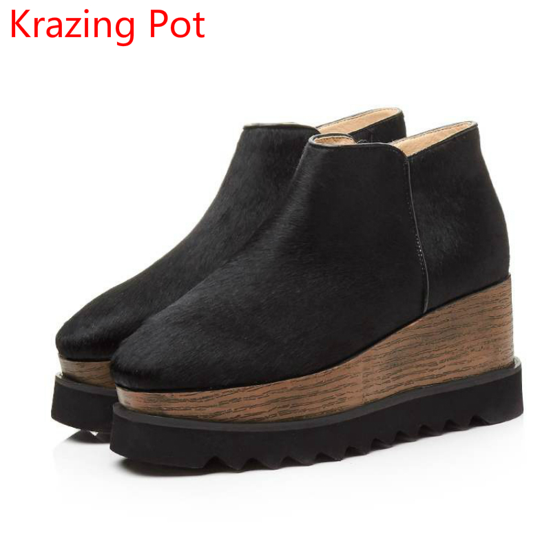 2018 Superstar Horsehair Zipper Keep Warm Preppy Style Yellow Large Size Zipper Wedges Leisure Fashion Winter Boots for Women L0