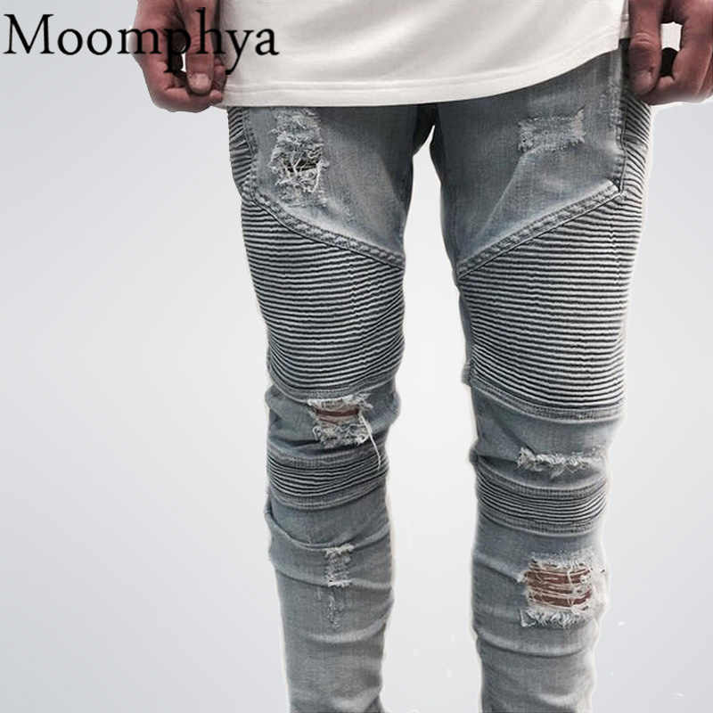 2016 hip-hop Men Jeans masculinaCasual Denim distressed Men's Slim Jeans pants Brand Biker jeans skinny rock ripped jeans homme