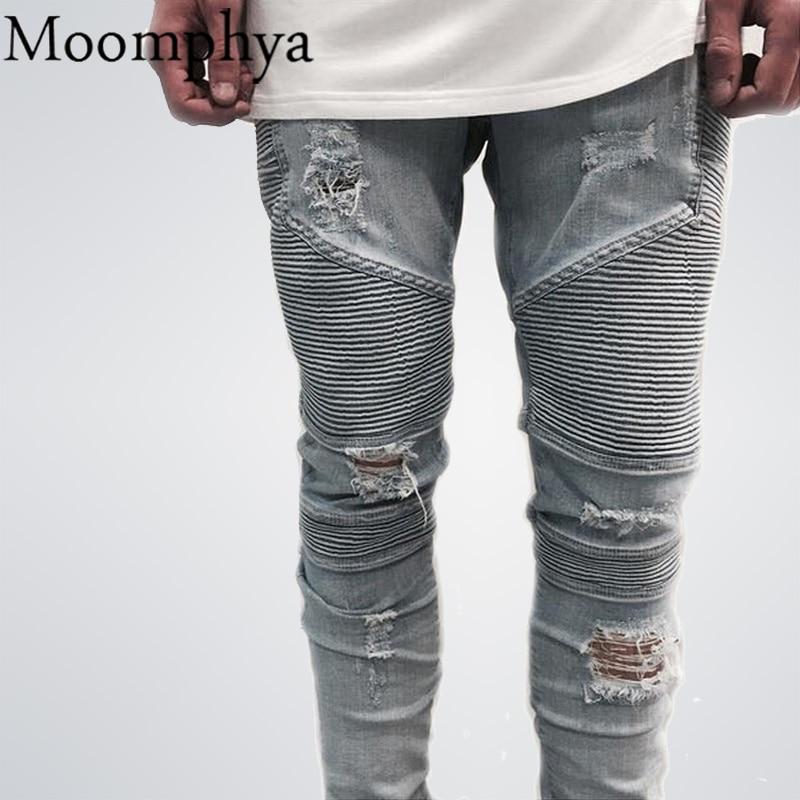 2016 hip-hop Degli Uomini Dei Jeans masculinaCasual Denim distressed uomo Slim pantaloni Jeans di Marca dei jeans Biker roccia jeans strappati homme