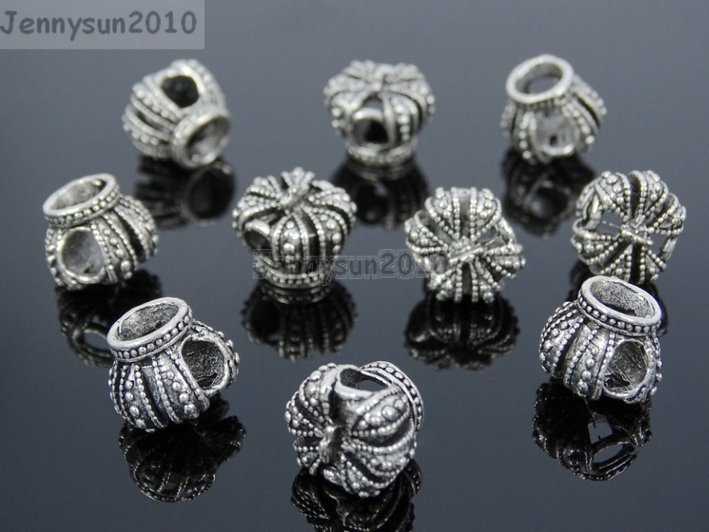 10 Silver Crown Connector Charm Loose Bead Jewelry Making Finding 10mm