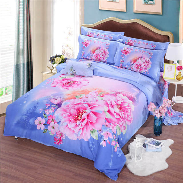 Beautiful Chinese Peony Flower Printed Bedding Sets Coverlets Cotton Bed  Duvet Covers Adults Girls Bedroom Decor