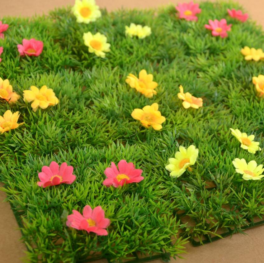 Home & Garden Enthusiastic 10pcs/lot 12*12cm Square Artificial Green Grass+flower For Wedding Party Home Office Hotel Venue Decoration Miniatures Making