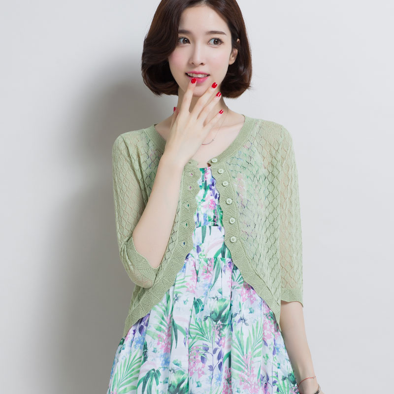 High Quality Summer and Spring Women's Hollow Out Short Knitwear Female Sun Protection Air Conditioning Knitted Thin Cardigan