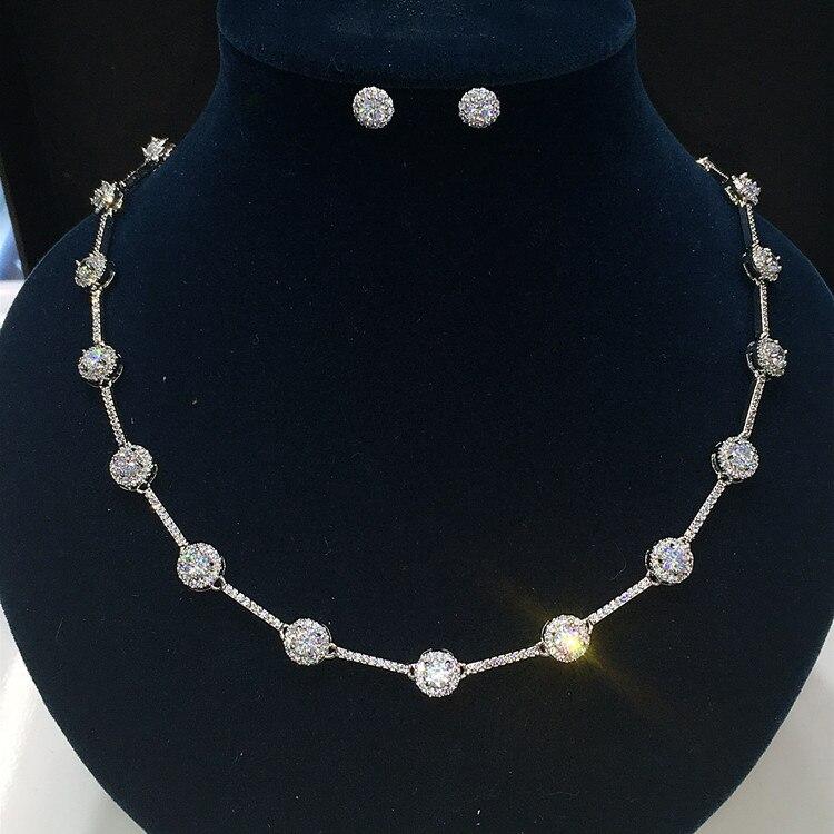 Luxe classique couleur or blanc AAA + CZ pierre bijoux ensembles mariage robe de mariée accessoires pour filles femmes GLN0312/GLE4826Y