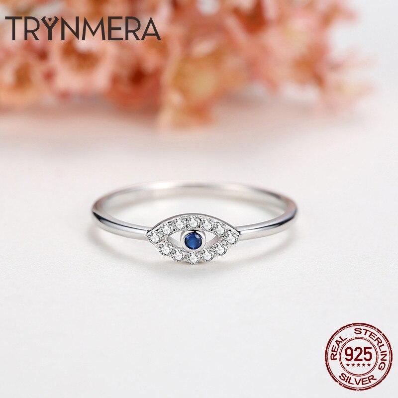 72fa04c79aab Compromiso 925 plata esterlina mal de ojo anillo azul ojo de cristal ...