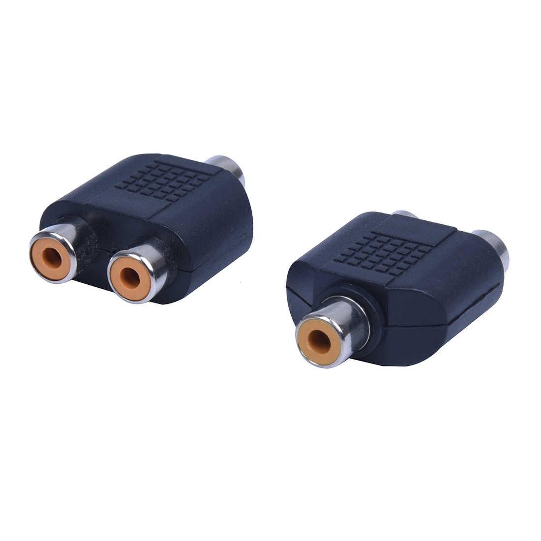 2 Buah RCA AV Pemisah Y USB 1 Female 2 WANITA HITAM