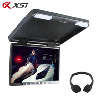 XST 17 Inch HD Car Flip Down 1440900 TFT LCD Monitor Roof Mount Player IR Transmitter Adjustable View Screen Dome LED Light