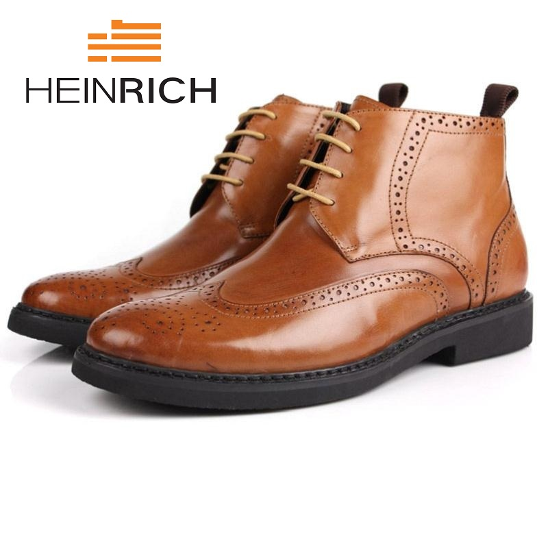HEINRICH Brand New Winter Brogue Style Men Genuine Leather Boots Male Winter High Quality Wedding Shoes Botas Militares цена