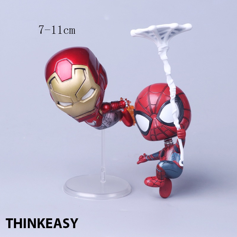 Spider Man And Iron Man Homecoming The Spiderman Q Version Mini PVC Figures Toys Car Home Decoration Doll