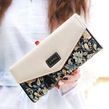 2015 Envelope Leather Women Wallet Hit Color 3 Fold Flowers Printing Wallet Long Ladies Clutch Coin Purse Designer Brand Wallet stylish 3d metallic flowers printing clutch
