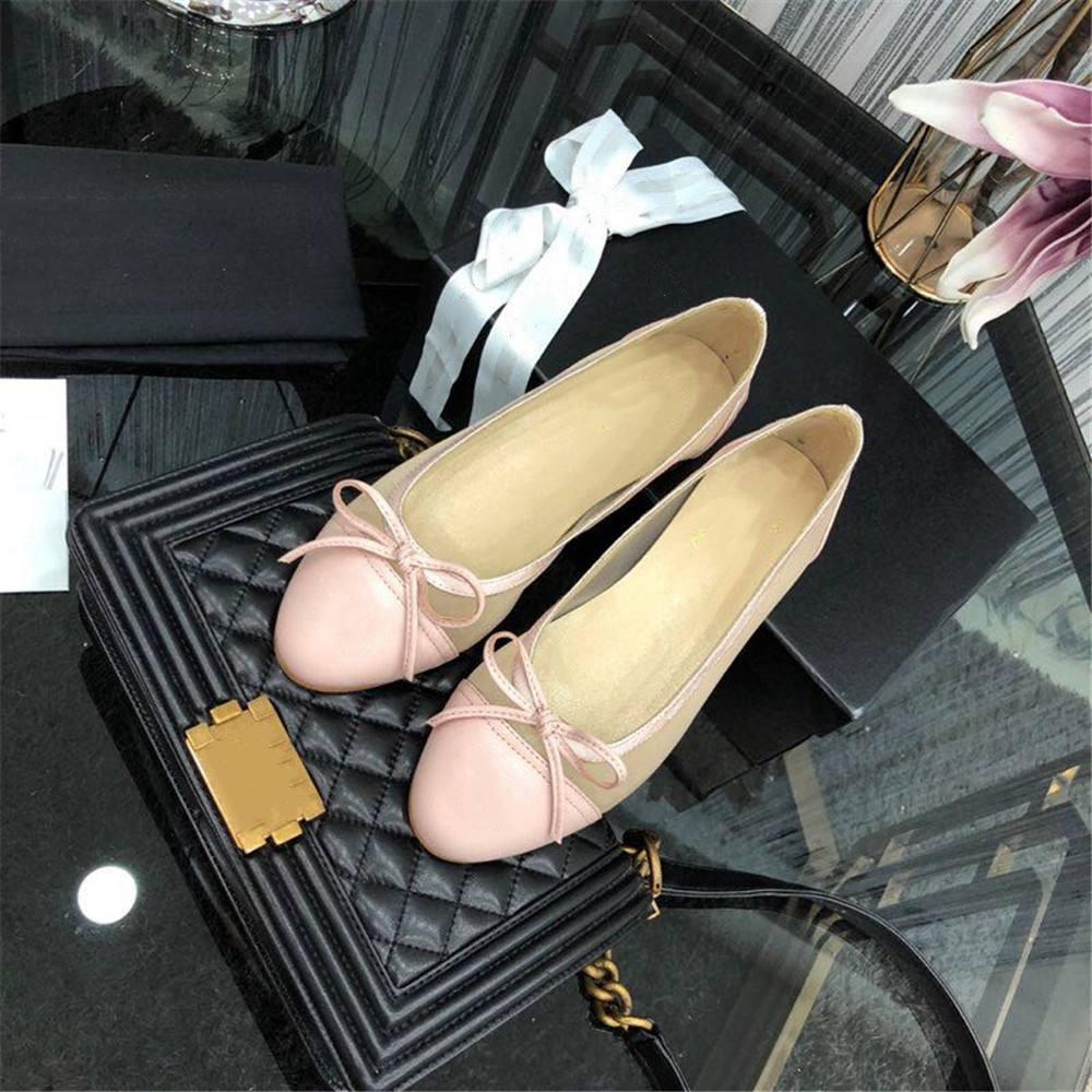 Ayakk.'ten Kadın Topuksuz Ayakkabı'de Kadın ayakkabısı Hakiki Deri Yuvarlak Ayak Deri Lüks Markalar kadın Daireler Kelebek yay düğüm Papyon rahat ayakkabılar Bale Daireler 42'da  Grup 1