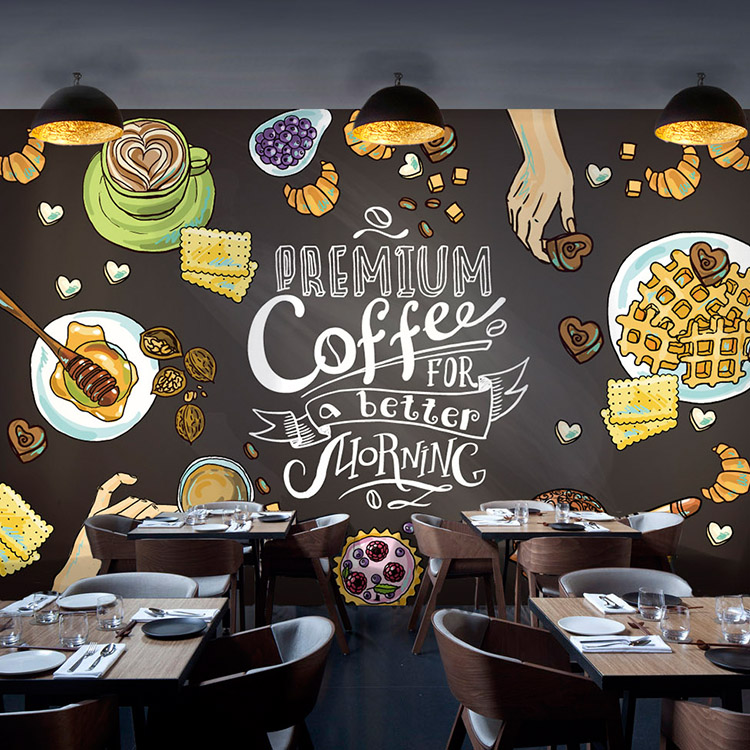 Wholesale custom 3d mural wallpaper kitchen background for Mural coffee shop
