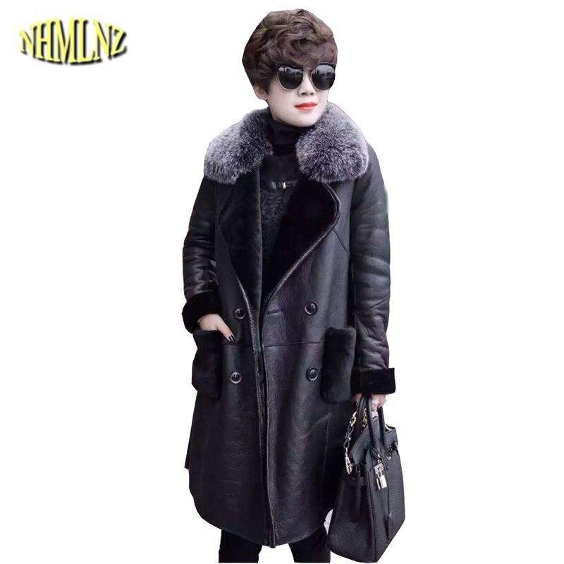 Manteau Cuir Col Long Black Moyen Chaud Femmes De Nouveau 2018 Hiver Slim Veste Mode Patchwork Survêtement Ly290 Fourrure Faux Dames 15qH75wZg