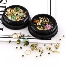 1 Box/Piece Mixed Shapes Rhinestones For Nails 3D Crystal Stones Faux Imitation diamond Nail Art Mix Colorful