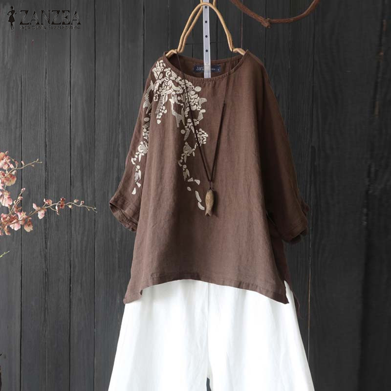 Objective Zanzea Vintage Women Half Sleeve Embroidery Blouse Summer Cotton Linen Tops Femme Casual Floral Shirt Chemise Solid Party Blusas