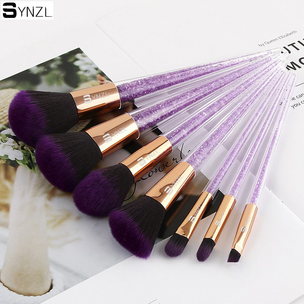 New 7 pcs makeup brushes purple color crystal handle powder blush foundation eye shadow eyebrow cosmetic brush make up brushes