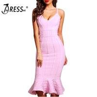 INDRESSME Elegant Women Bandage Party Dress Sexy Deep V Spaghetti Strap Backless Midi Mermaid Lady Dress