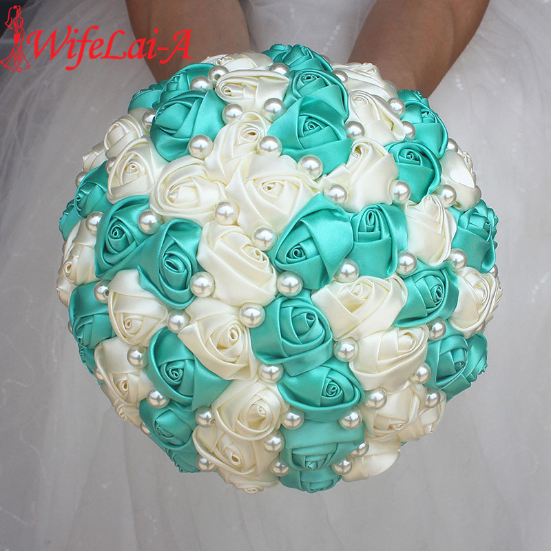 Best Selling Pure Handmade Mint Green Ivory Pearl Beaded Bridal Bouquet Simple Hand Holding Bow Flowers Wedding Bouquet  W322-1