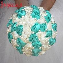 Beste Verkaufende Reine Handgemachte Mint Grün Elfenbein Perle Perlen Braut Bouquet Einfache Hand Halten Bogen Blumen Hochzeit Bouquet W322 1