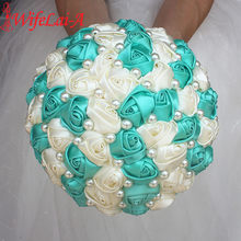 Best Selling Pure Handmade Mint Green Ivory Pearl Beaded Bridal Bouquet Simple Hand Holding Bow Flowers Wedding Bouquet W322-1(China)