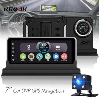 Dual Lens 1080P HD Car DVR GPS Camera 7 Inch Screen Video Recorder For Android Dash